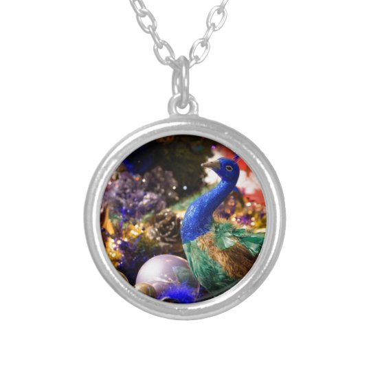 Peacock Christmas Design Silver Plated Necklace