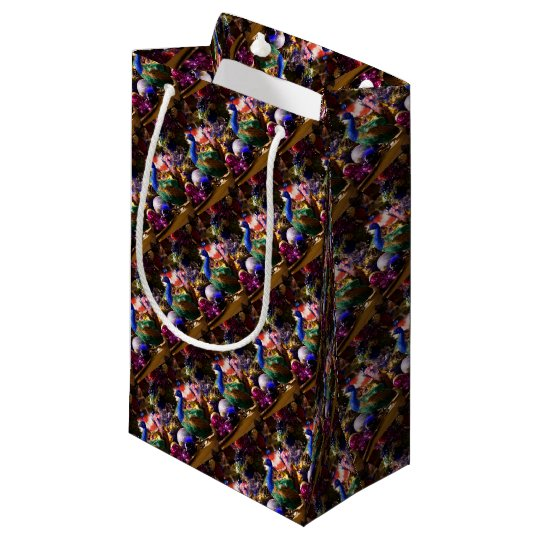 Peacock Christmas Design Small Gift Bag