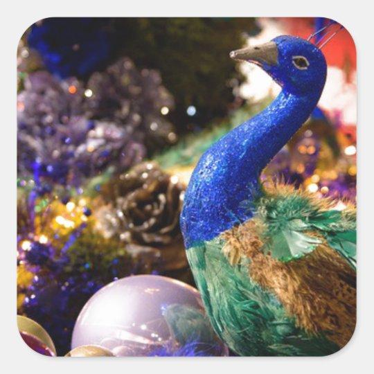 Peacock Christmas Design Square Sticker