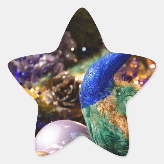 Peacock Christmas Design Star Sticker