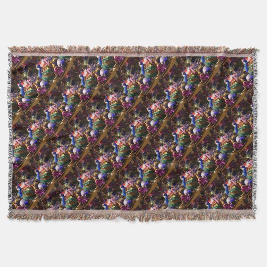 Peacock Christmas Design Throw Blanket