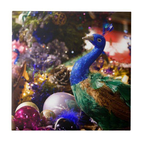 Peacock Christmas Design Tile