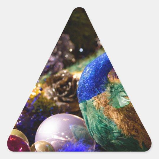 Peacock Christmas Design Triangle Sticker