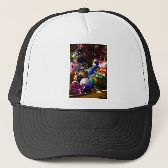 Peacock Christmas Design Trucker Hat