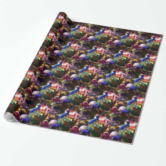 Peacock Christmas Design Wrapping Paper
