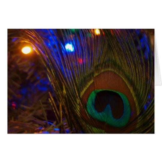 Peacock Christmas Feather Card