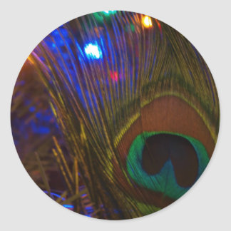 Peacock Christmas Feather Classic Round Sticker