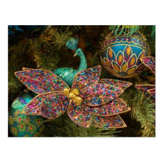 Peacock Christmas Ornament Holiday Tree Postcard