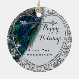 Peacock Christmas PHOTO Ornament Family Couple