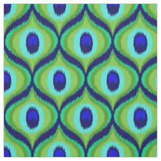 Peacock color moroccan ikat design fabric