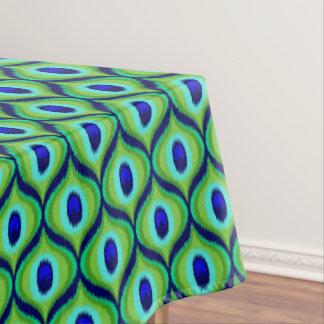 Peacock color moroccan ikat design tablecloth