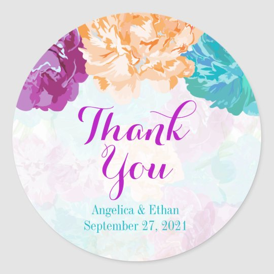 Peacock Coloured Flowers Thank You Stickers