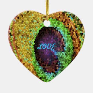 Peacock Design Ceramic Heart Ornament