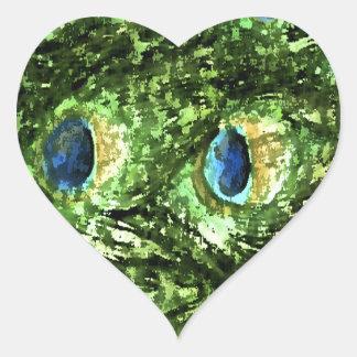 Peacock Design Heart Sticker