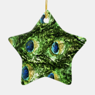 Peacock Design Double-Sided Star Ceramic Christmas Ornament