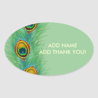 Peacock Design Personalized Gifts Oval Sticker