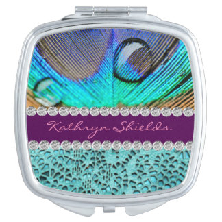 Peacock Design Print Blue Purple Diamonds Compact Mirrors