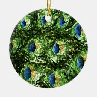 Peacock Design Round Ceramic Ornament