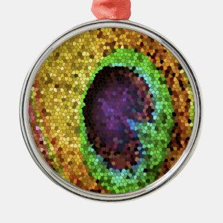 Peacock Design Silver-Colored Round Ornament