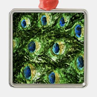 Peacock Design Silver-Colored Square Ornament
