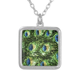 Peacock Design Square Pendant Necklace
