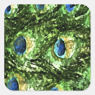 Peacock Design Square Sticker