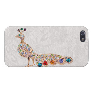 Peacock Diamond Jewels & Paisley Lace Photo Case For iPhone 5/5S