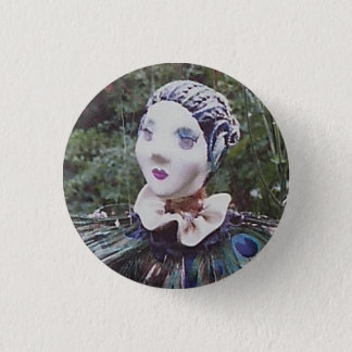 Peacock doll 1 inch round button