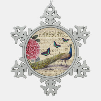 Peacock Dreams Snowflake Pewter Christmas Ornament