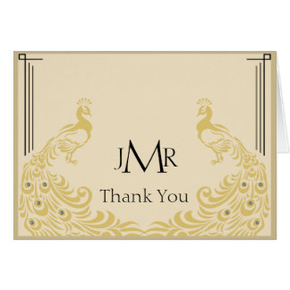 Peacock Elegance Art Deco Anniversary Thank You Card