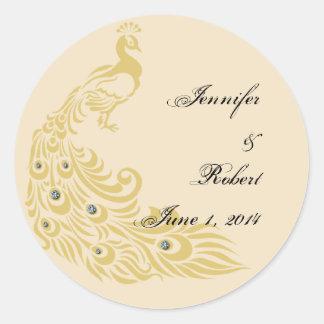 Peacock Elegance Art Deco Wedding Envelope Seal Round Sticker