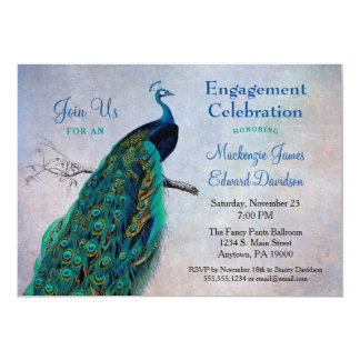 Peacock Engagement Party Invitation Vintage Blue
