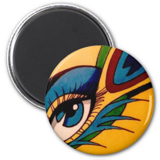 Peacock Eye 2 Inch Round Magnet