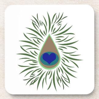 Peacock Eye Heart Shaped Coaster
