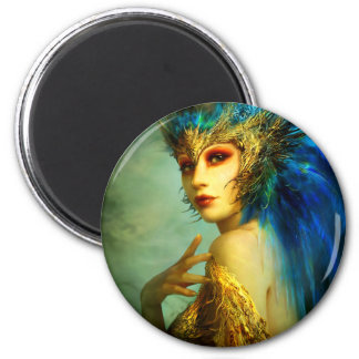 Peacock Fairy 2 Inch Round Magnet