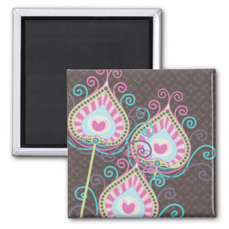 Peacock Fancy Feathers Damask Square Magnet
