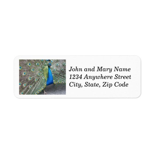 Peacock Fantail Photo Return Address Labels