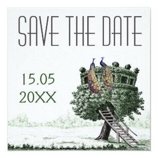 "Peacock Fantasy Tree Wedding Save the Date 5.25"" Square Invitation Card"