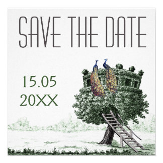 Peacock Fantasy Tree Wedding Save the Date Custom Announcements
