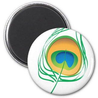Peacock feather 2 inch round magnet