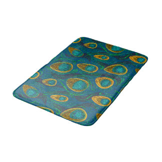 Peacock Feather Abstract Bath Mat