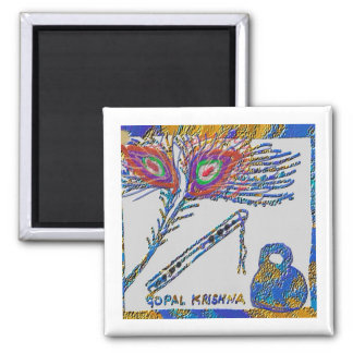 Peacock Feather and Flute - Hare Krishna Fridge Magnets