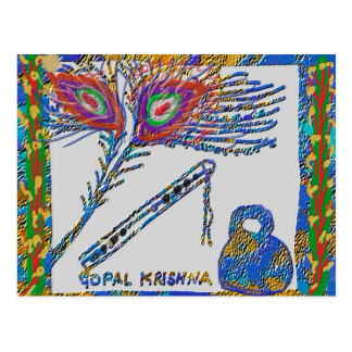 Peacock Feather and Flute - Hare Krishna Postcard