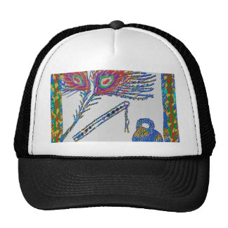 Peacock Feather and Flute - Hare Krishna Trucker Hat
