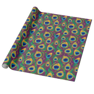 Peacock Feather Animal Print Wrapping Paper