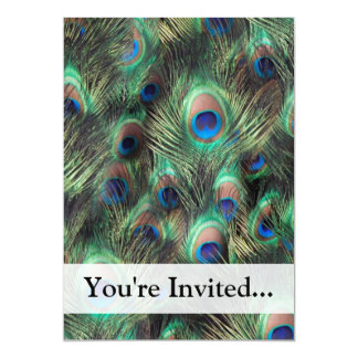 """Peacock Feather Background 5"""" X 7"""" Invitation Card"""