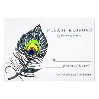 "Peacock Feather Blue RSVP Card 3.5"" X 5"" Invitation Card"