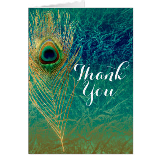 Peacock Feather Blue Teal Gold Boho Thank You Card