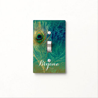 Peacock Feather Blue Teal Gold Exotic Boho Glam Light Switch Cover