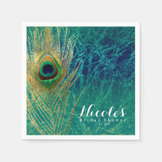 Peacock Feather Blue Teal Gold Exotic Custom Party Paper Napkin